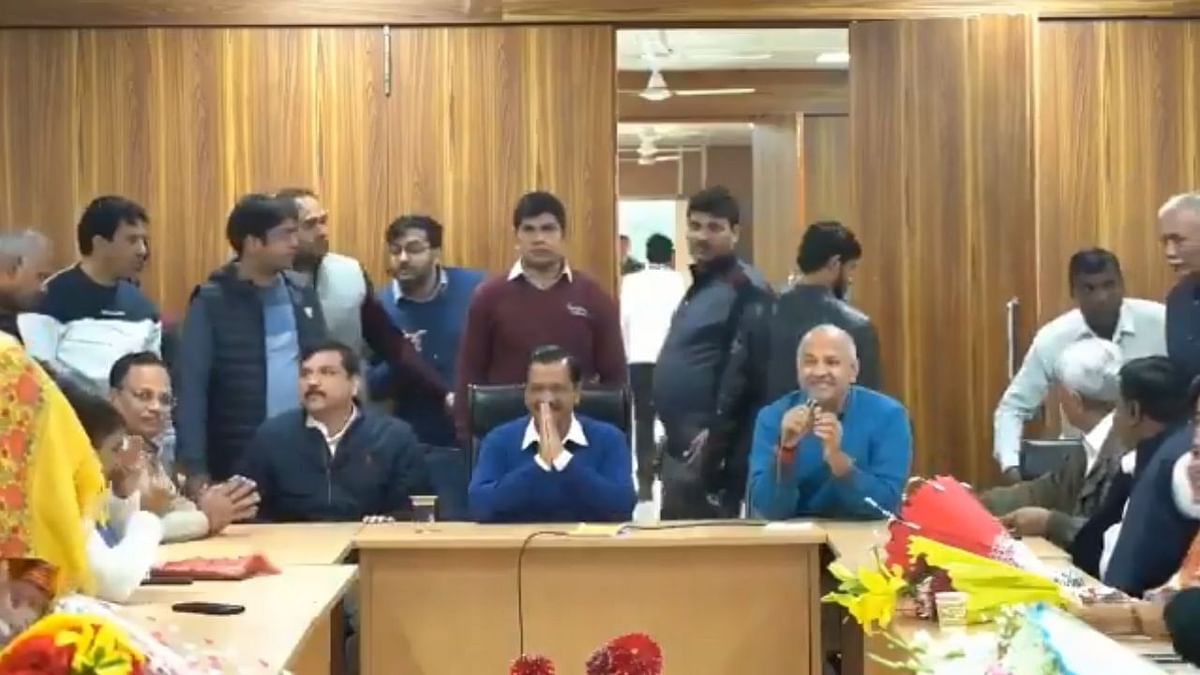 Aam Aadmi Party (AAP) chief Arvind Kejriwal at a meeting of the party's newly-elected MLAs at his residence in which he was elected as its legislature party, in New Delhi on February 12, 2020.
