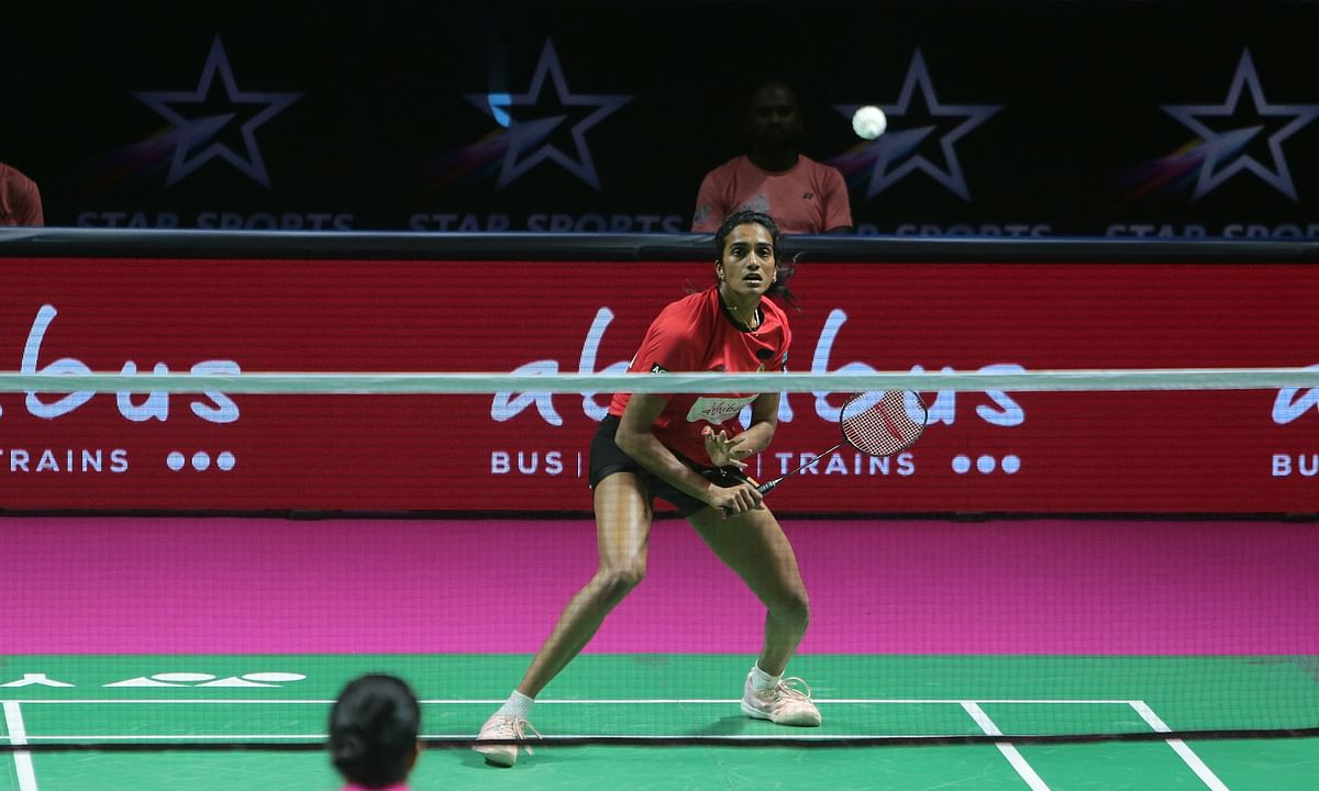 P V Sindhu of Hyderabad Hunters in action against Rituparna Das of Pune 7 Aces in the Premier Badminton League in Hyderabad on February 5, 2020