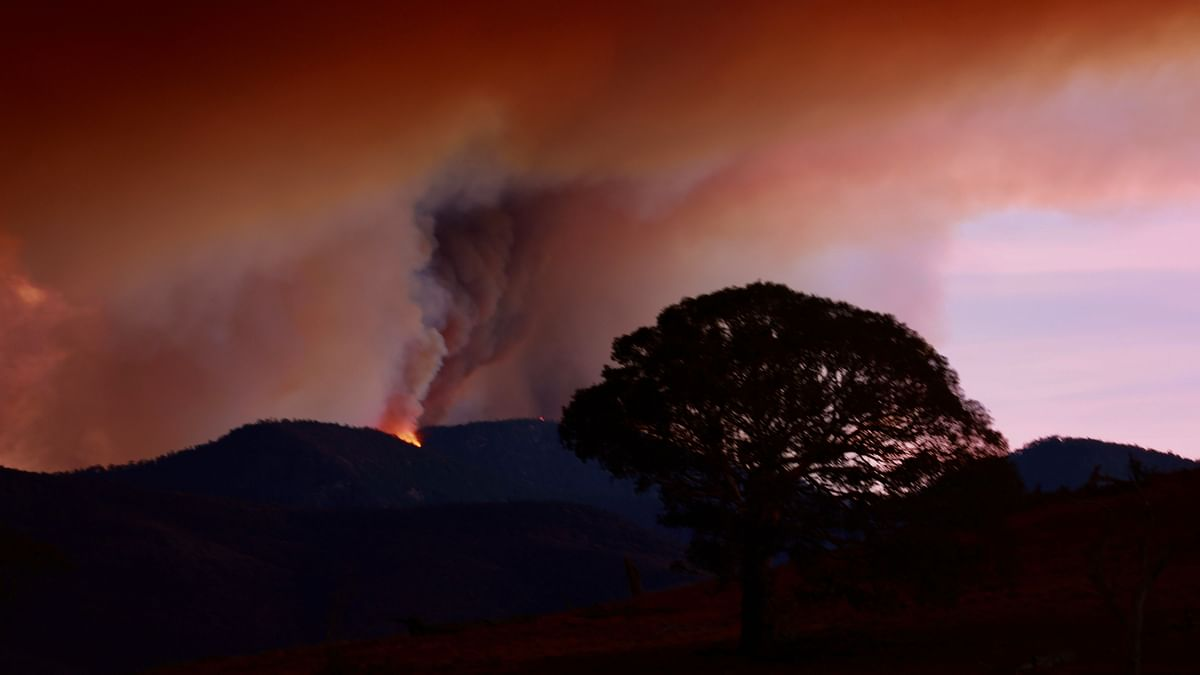 A file photo of the sky over the Namadgi National Park that has turned red due to a bushfire in Canberra, Australia on January 28, 2020.