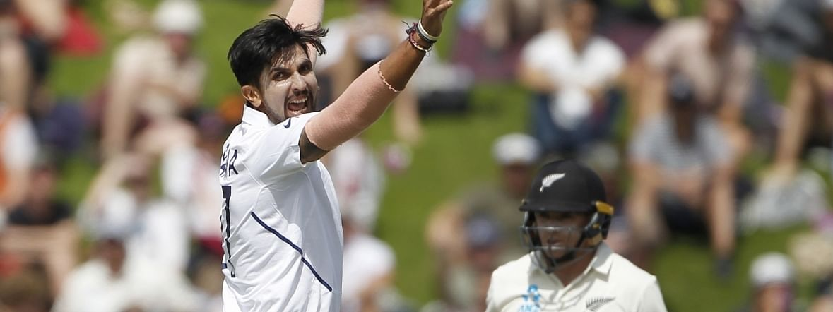 India's Ishant Sharma celebrating the wicket of Tom Latham on Day 2 of the 1st Test match between India and New Zealand at the Basin Reserve cricket ground in Wellington, New Zealand on February 22, 2020.