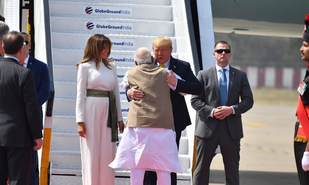 Trumps visit Sabarmati Ashram, try hands on charkha