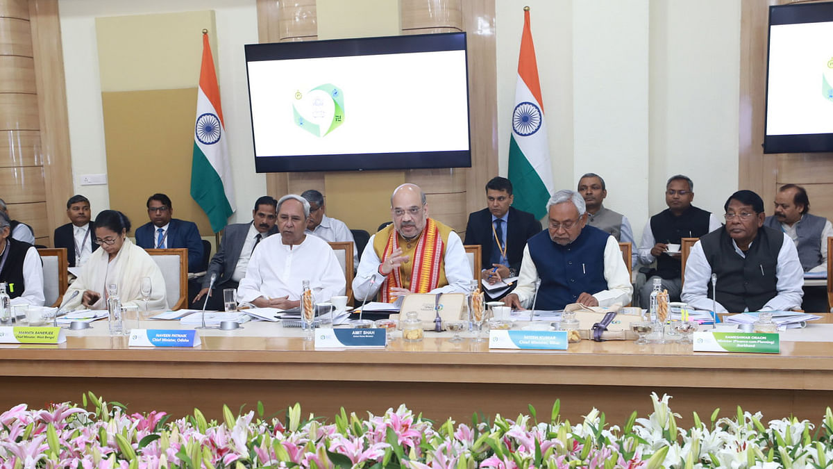 Union Home Minister Amit Shah chairing the 24th meeting of the Eastern Zonal Council, at Bhubhaneswar, Odisha on February 28, 2020. Chief Ministers Naveen Patnaik of Odisha, Nitish Kumar and Mamata Banerjee of West bengal and Jharkhand Finance Minister Ramesh Oraon are also seen.
