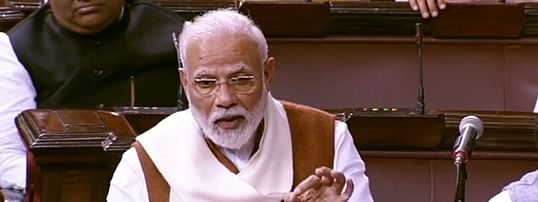 Prime Minister Narendra Modi replying to the debate on the Motion of Thanks to the President, in the Rajya Sabha in New Delhi on February 6, 2020.