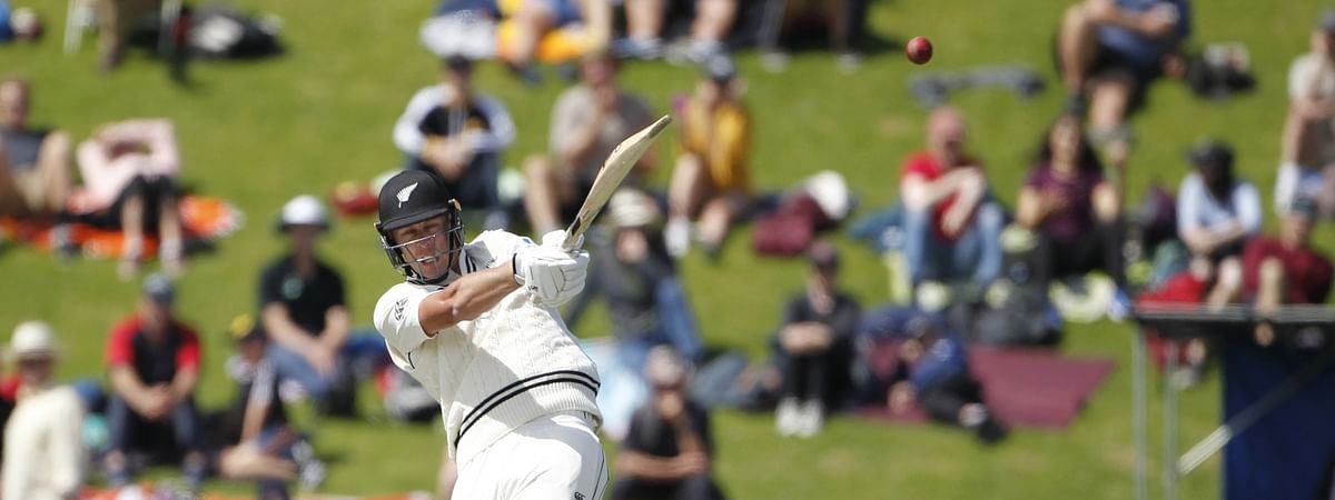 New Zealand's Kyle Jamieson in action on Day 3 of the 1st Test match between India and New Zealand at the Basin Reserve cricket ground in Wellington, New Zealand on February 23, 2020.