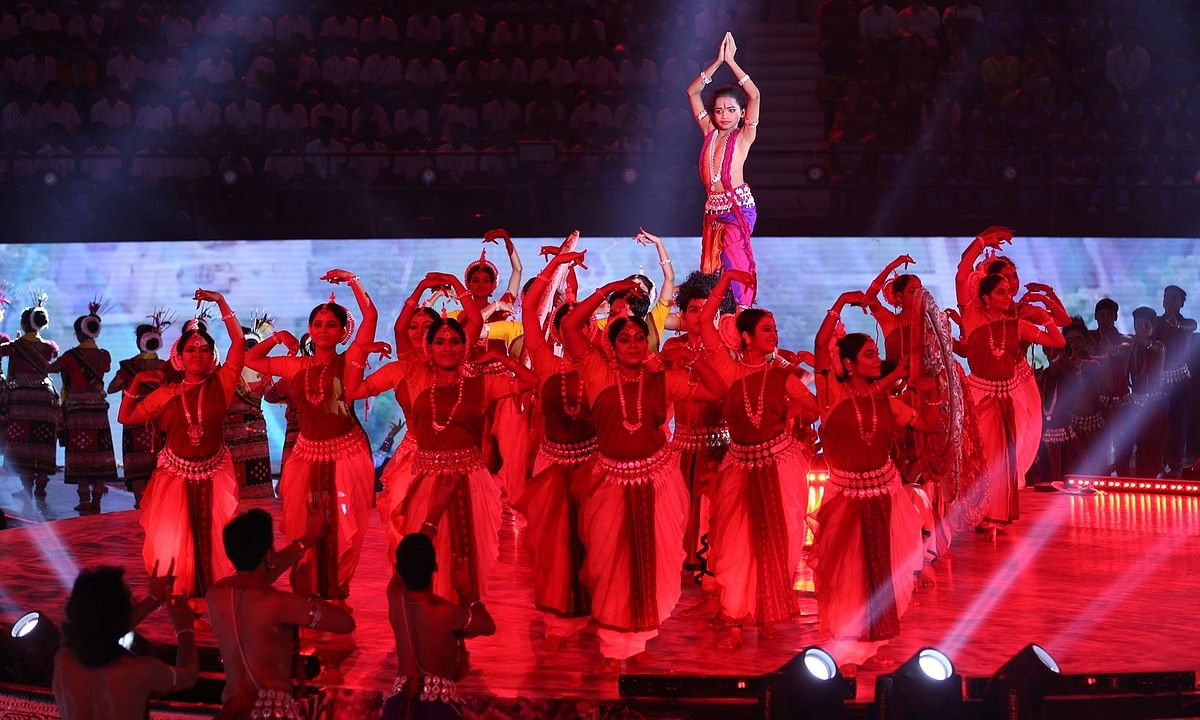 Artistes performing during the opening ceremony of the Khelo India University Games in Cuttack on February 22, 2020.