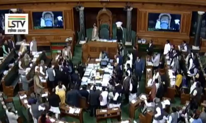 Scuffle between BJP-Congress MPs in LS over Rahul's 'danda' remarks