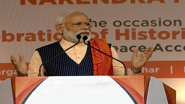 Prime Minister Narendra Modi addressing a public rally in Kokrajhar district of Assam on February 7, 2020.