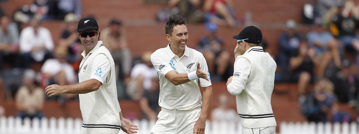 New Zealand's Trent Boult celebrating the wicket of Mayank Agarwal during the first Test between New Zealand and India at Basin Reserve cricket stadium in Wellington, New Zealand on February 21, 2020.