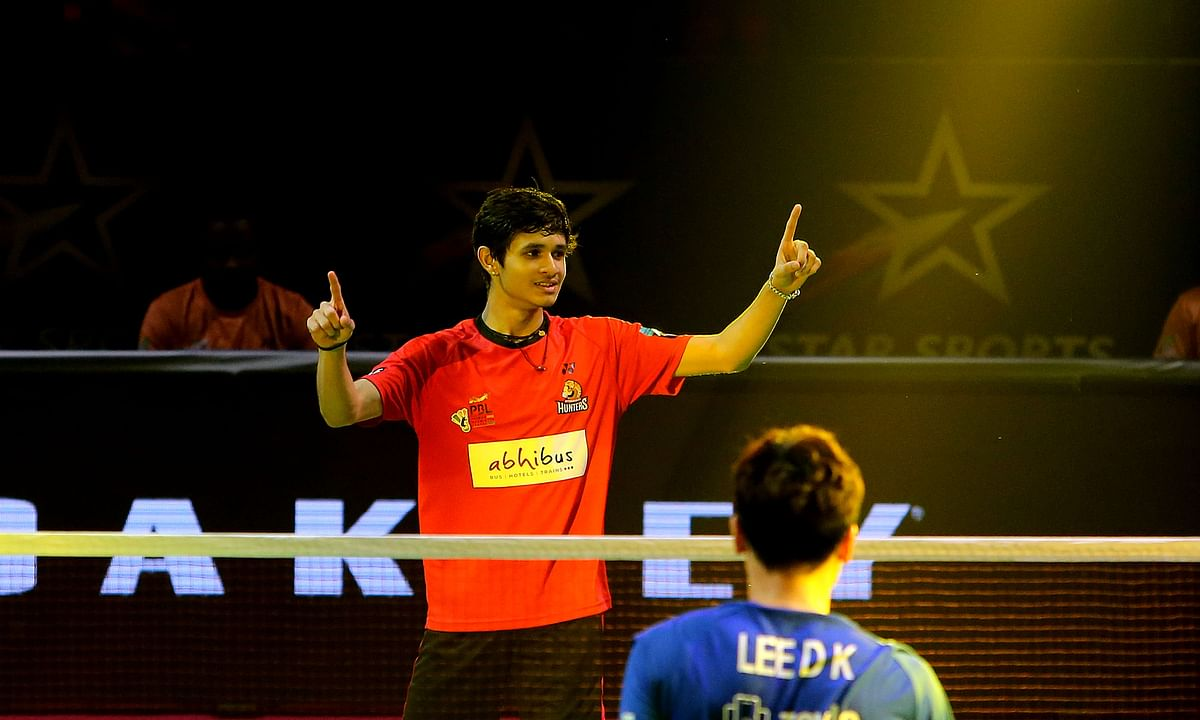 Priyanshu Rajawat of Hyderabad Hunters in action against Lee Dong Keun of Mumbai Rockets in the Premier Badminton League in Hyderabad on February 2, 2020.