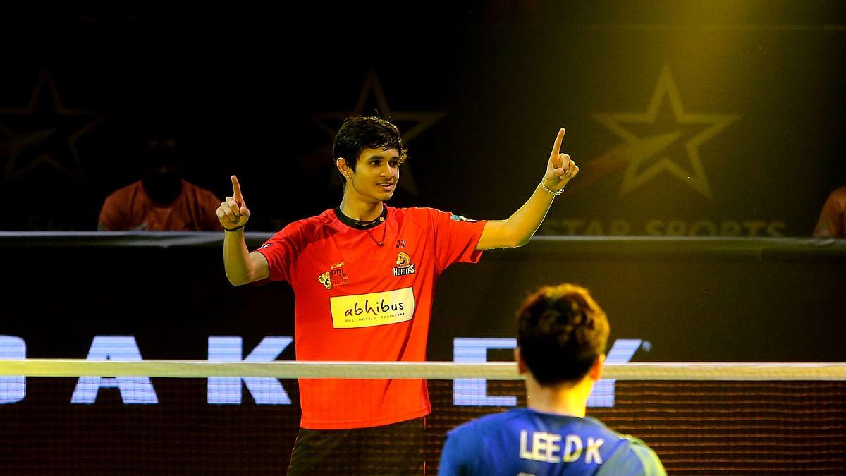 Priyanshu Rajawat of Hyderabad Hunters in action against Lee Dong Keun of Mumbai Rockets in the Premier Badminton League in Hyderabad on February 2, 2020.