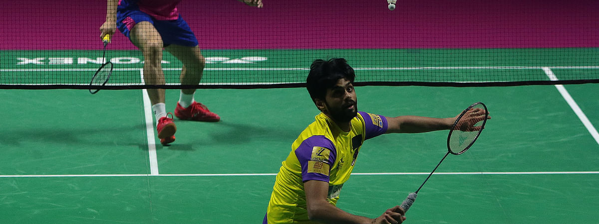 Sai Praneeth of Bengaluru Raptors in action against Kazumasa Sakai of Pune 7 Aces in the Premier Badminton League in Hyderabad on February 8, 2020.