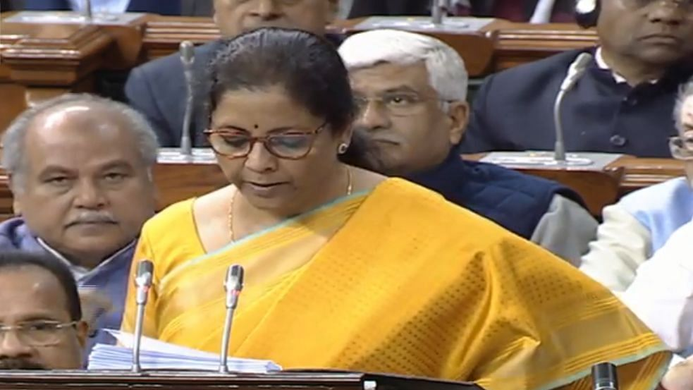 Finance Minister Nirmala Sitharaman presenting the Union Budget 2020-21 in the Lok Sabha on       February 1, 2020.