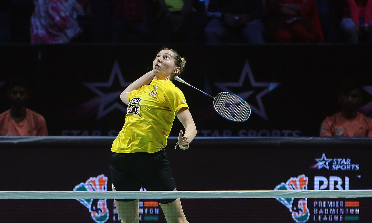 Kirsty Gilmour of Chennai Superstarz on way to her win over Ashmita Chaliha of North Eastern Warriors in the Premier Badminton League in Hyderabad on February 4, 2020.