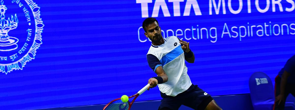 India's Sumit Nagal in action against Serbia's Viktor Troicki in the first round of the Tata Open Maharashtra tennis tournament in Pune on February 3, 2020.