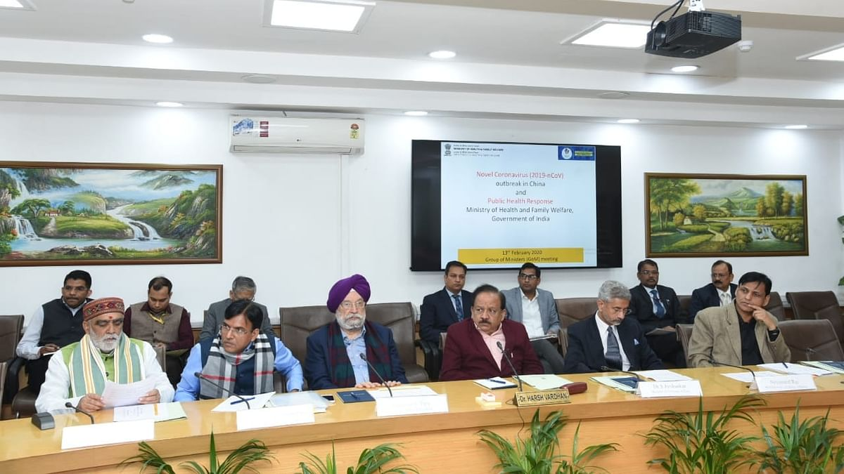 Union Ministers S Jaishankar, Harsh Vardhan, Hardeep Singh Puri and  Ashwini Kumar Choubey during the meeting of Group of Ministers (GoM) to review the steps for prevention of the spread of novel coronavirus, in New Delhi on February 13, 2020.