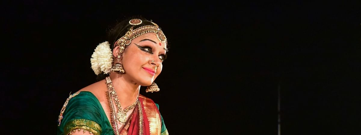 Well-known dancer and actress Shobana performing on the third day of the Khajuraho Dance Festival at Khajuraho in Madhya Pradesh, on February 24, 2020.