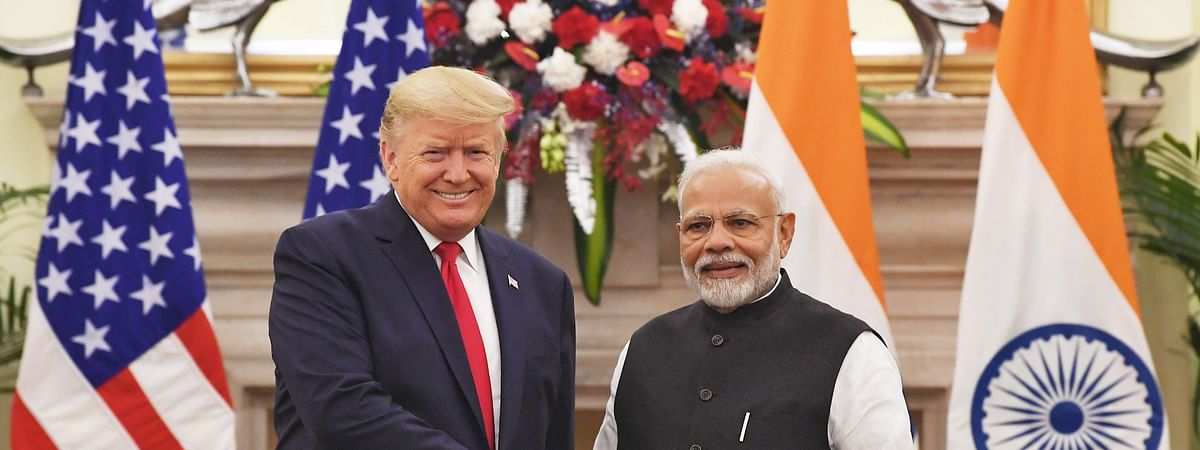 File photo of Prime Minister Narendra Modi meeting United States President Donald Trump, at Hyderabad House, in New Delhi on February 25, 2020.