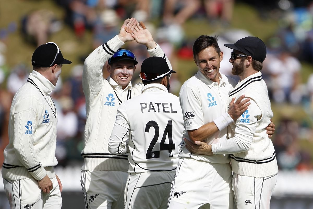 New Zealand's Trent Boult celebrating the wicket of Cheteshwar Pujara on Day 3 of the 1st Test match between India and New Zealand at the Basin Reserve cricket ground in Wellington, New Zealand on February 23, 2020.