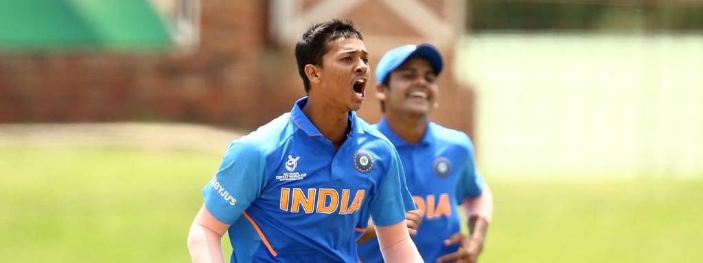 India's Yashasvi Jaiswal celebrates the fall of a wicket during the ICC Under-19 World Cup semi-final match between India and Pakistan at Senwes Park in Potchefstroom, South Africa on February 4, 2020.