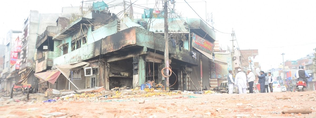 A view of the shops which were gutted during the violence in North East Delhi's Khajuri Khas on Feb 27, 2020.