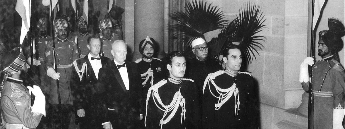Dwight Eisenhower, the first United States president to visit India, being accompanied by India's President Rajendra Prasad to a State Dinner at Rashtrapati Bhavan in New Delhi on December 10, 1959.