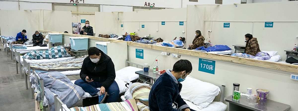 Patients in a temporary hospital in central China's Hubei province --  the centre of the novel coronavirus epidemic in the country -- on February 10, 2020.