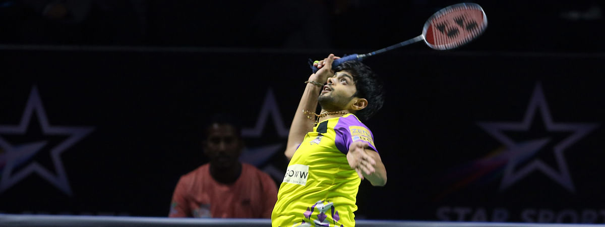 Sai Praneeth of Bengaluru Raptors in action against Lee Cheuk Yiu of North Eastern Warriors in the final of the Premier Badminton League in Hyderabad on February 9, 2020