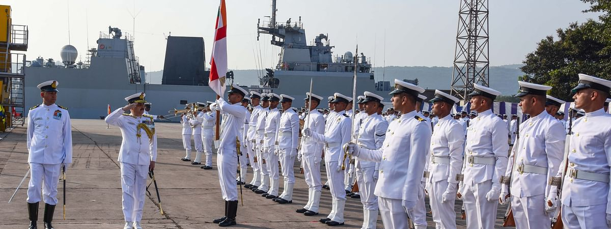 Rear Admiral Sanjay Vatsayan taking the salute after assuming charge as Eastern Fleet Command at Visakhapatnam on February 12, 2020.