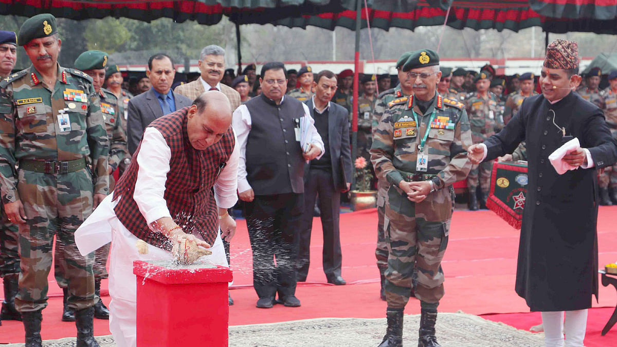 Rajnath lays foundation stone of Thal Sena Bhawan at Delhi Cantonment