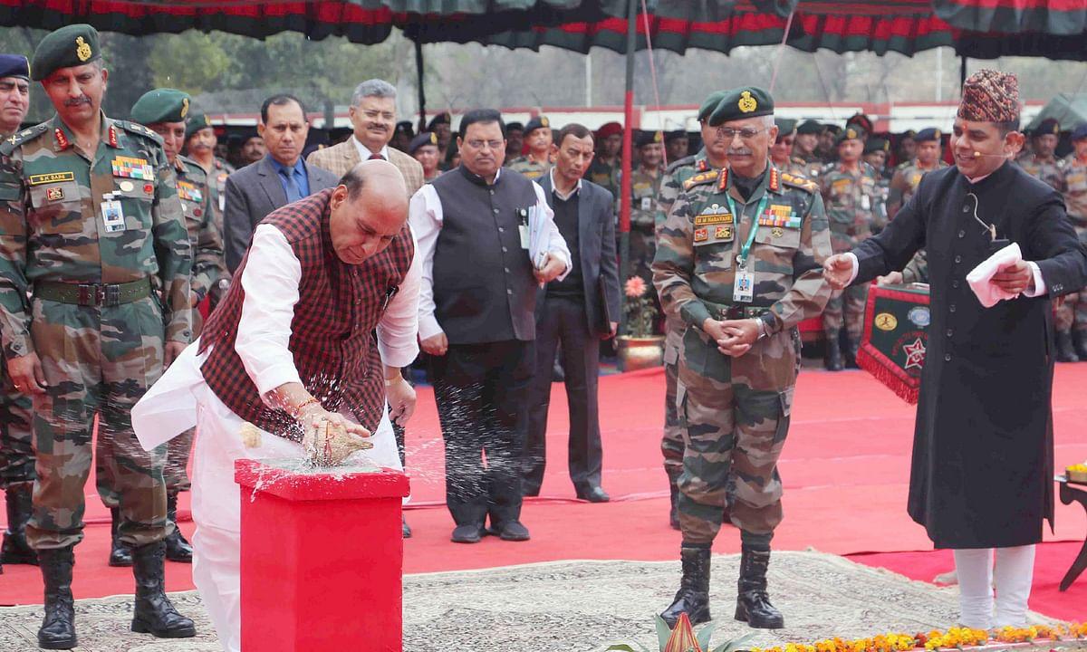 Rajnath lays foundation stone of Thal Sena Bhawan at Delhi Cantonment
