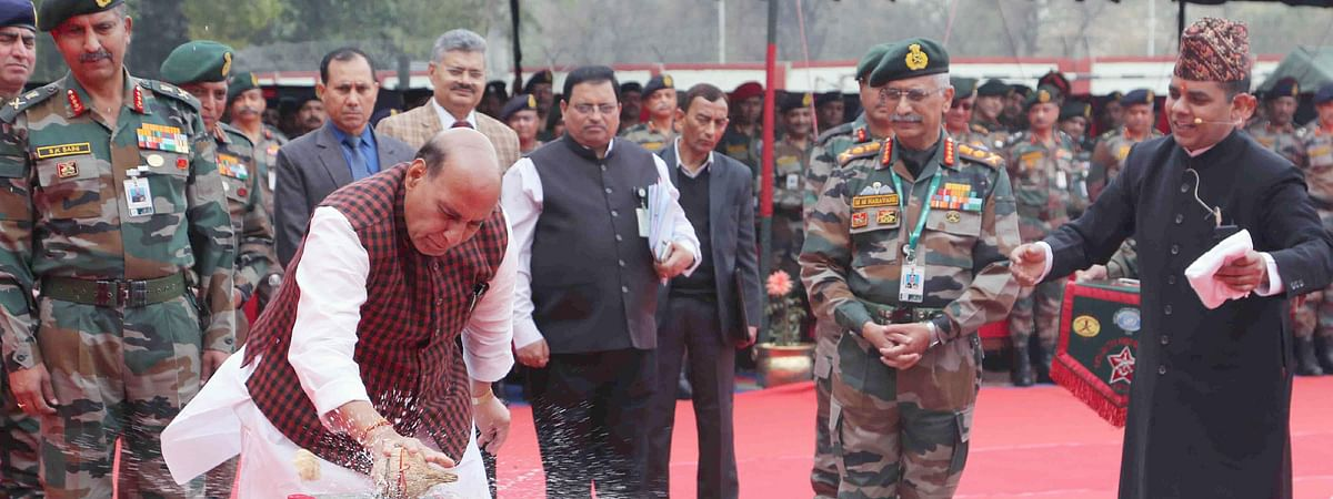 "Defence Minister Rajnath Singh performing 'bhoomi pujan"" during the ground-breaking ceremony of Thal Sena Bhawan, the new Army Headquarters at Delhi Cantonment, in New Delhi on February 21, 2020."