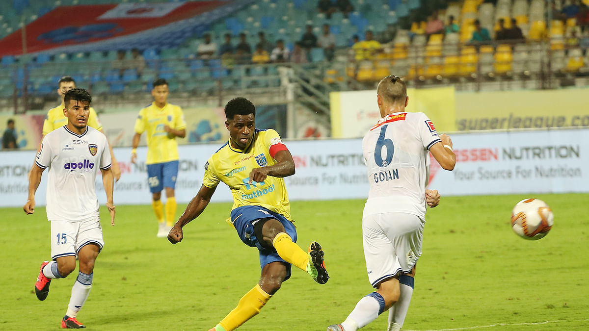 A piece of the action during  the match  between FC Chennaiyin and Kerala Blasters in the Indian Super League at Kochi on February 1, 2020.