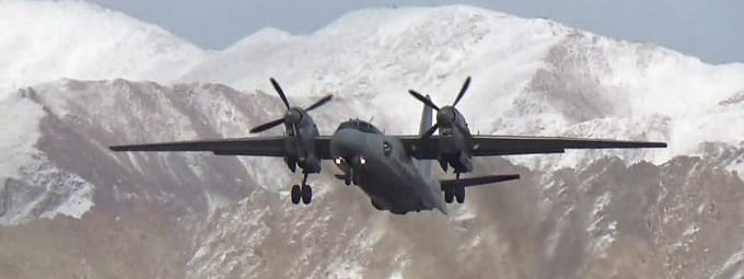 An AN-32 aircraft of the Indian Air Force (IAF) on an operational flight to Leh, Ladakh, powered by a 10% blend of Indian bio-jet fuel, on January 31, 2020.