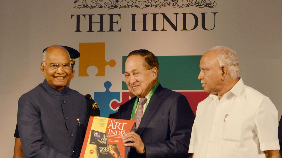 President Ram Nath Kovind at the fourth edition of 'The Huddle', the annual thought conclave of The Hindu, with N Ram, the Chairman of the Hindu Group and Karnataka Chief Minister B.S. Yediyurappa, in Bengaluru on February 22, 2020.