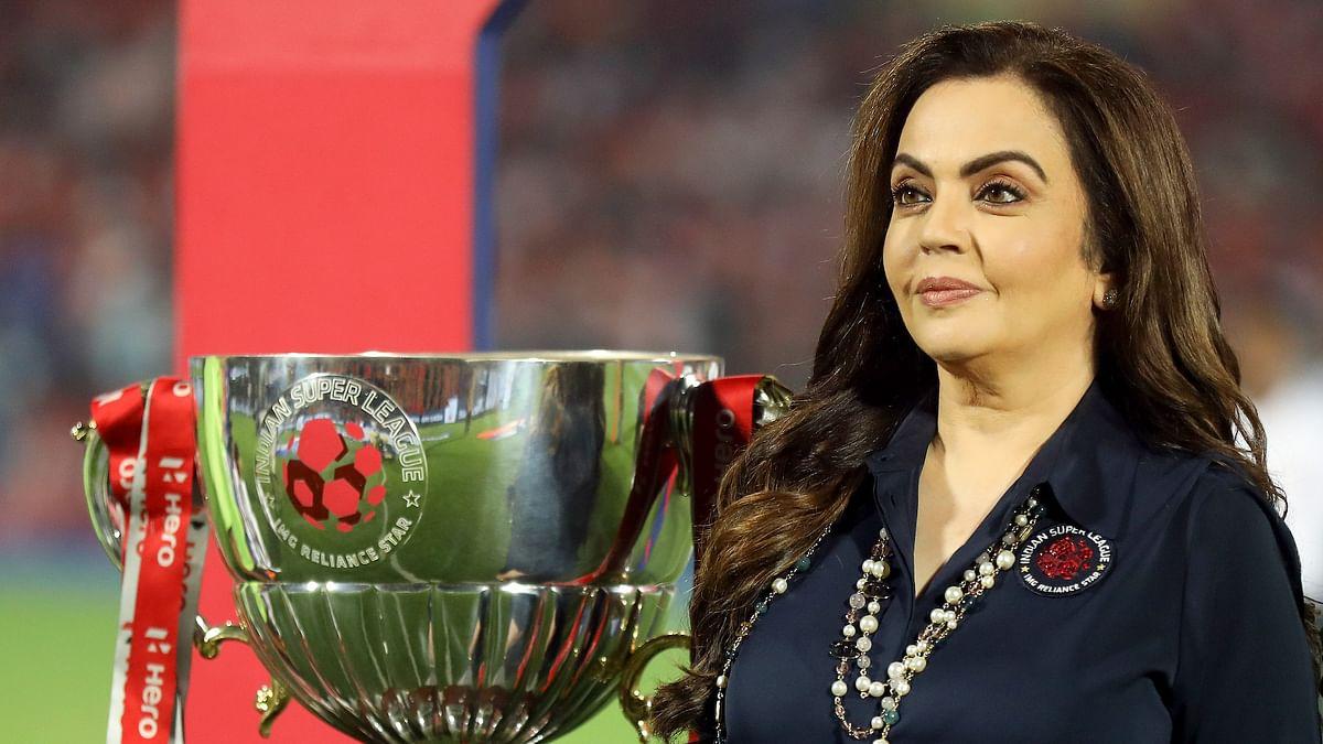 Nita Ambani with the ISL trophy