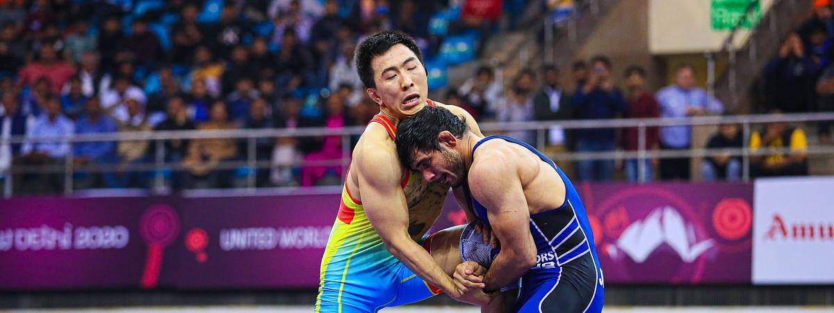 India's Jitender Kumar in action against Kaisanov Daniyar of Kazakhstan in the 74kg final at the Asian Wrestling Championship in New Delhi on February 23, 2020.