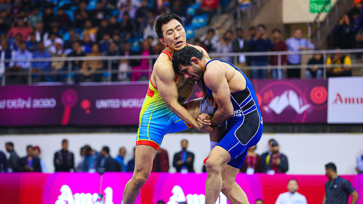 India's Jitender Kumar in action against Kaisanov Daniyar of Kazakhstan in the 74kg final at the Asian Wrestling Championship in New Delhi on February 23, 2020.