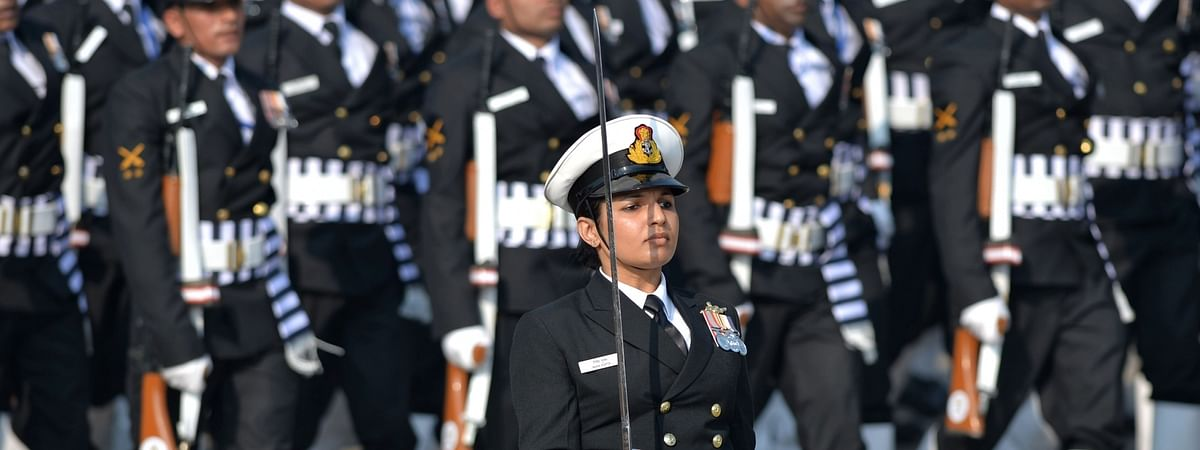 The Indian Naval contingent marching on Rajpath during the 71st Republic Day Parade, in New Delhi on January 26, 2020.