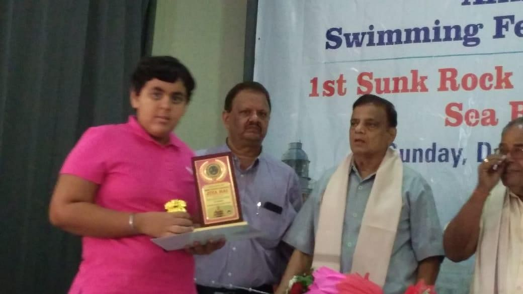 Special child felicitated for world record in open water swimming
