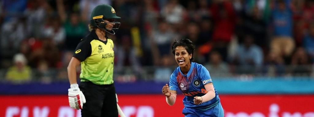 India's Poonam Yadav celebrating the fall of a wicket during the ICC Women's T20 World Cup 1st match between India and Australia at Sydney Showground Stadium in Sydney on February 21, 2020.