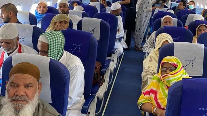 Last batch of Indian Umrah pilgrims leaving on a special IndiGo flight from Jeddah to Mumbai, on March 19, 2020.
