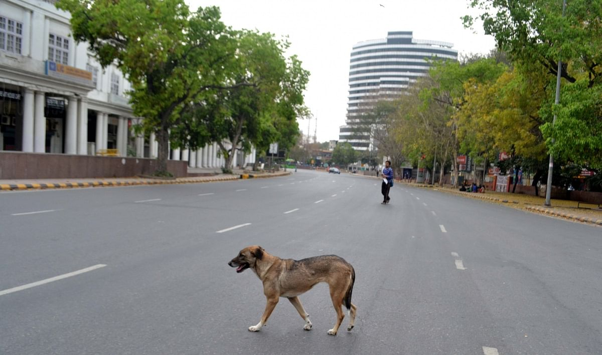 A view of the usually crowded Connaught Place in Delhi, during the countrywide lockdown to contain the spread of the coronavirus, on March 24, 2020.