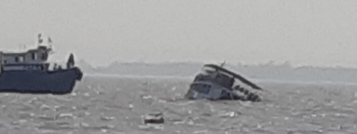 The sinking passenger ferry boat Ajanta, from which the police rescued 88 passengers, in the Arabian Sea near the Mandwa Jetty at Raigad near Mumbai, on March 14, 2020.