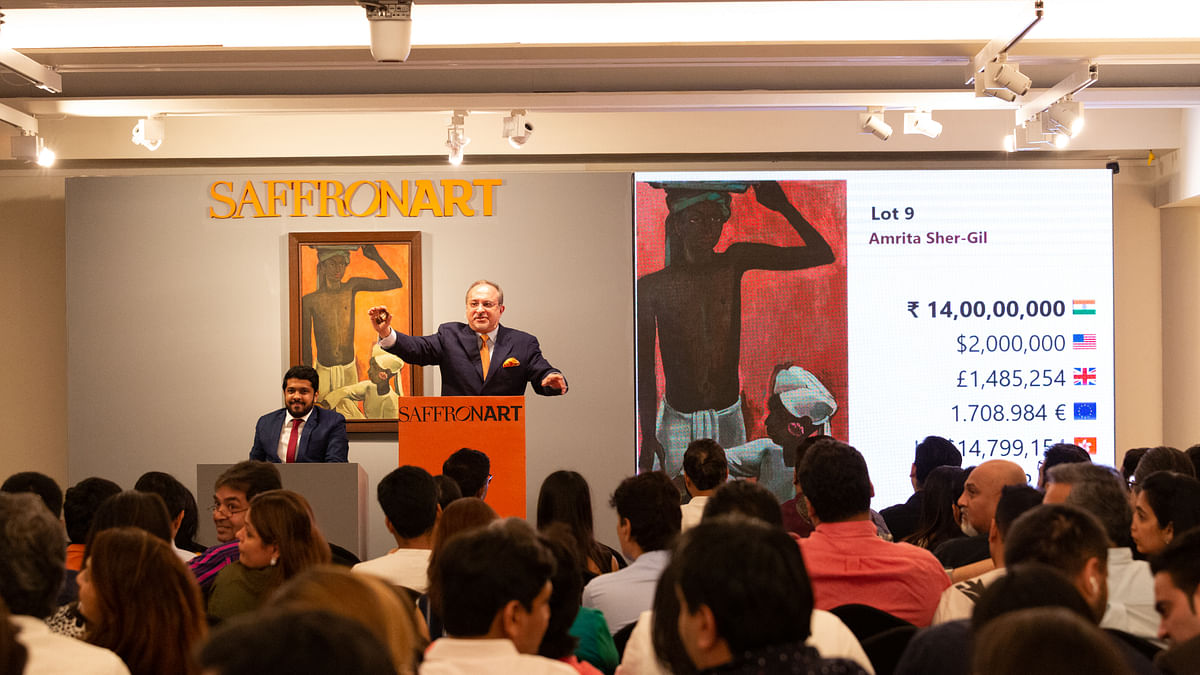 Dinesh Vazirani, Saffronart's CEO and co-founder, accepting bids at Saffrontart's Spring Live Auction on behalf of the Enforcement Directorate in Mumbai on March 5, 2020.