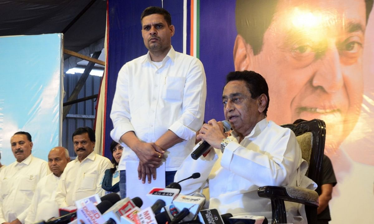 Madhya Pradesh Chief Minister Kamal Nath announcing his resignation at a press conference, ahead of the floor test in the state assembly, in Bhopal on March 20, 2020.