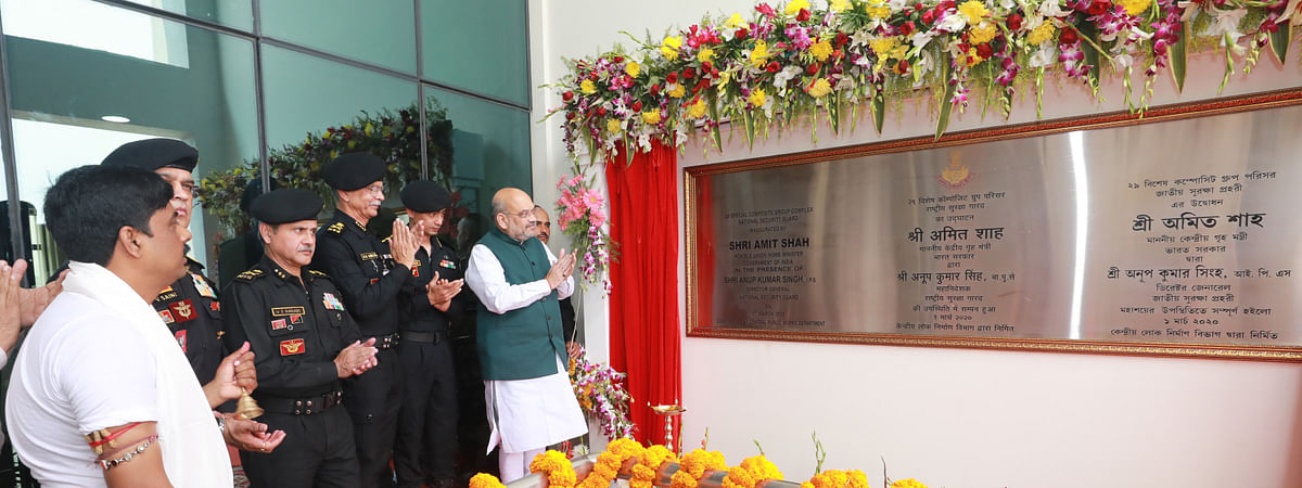 Union Home Minister Amit Shah inaugurating the campus of NSG Regional Hub, at Kolkata on March 1, 2020. The DG, NSG, Anup Kumar Singh is also seen.