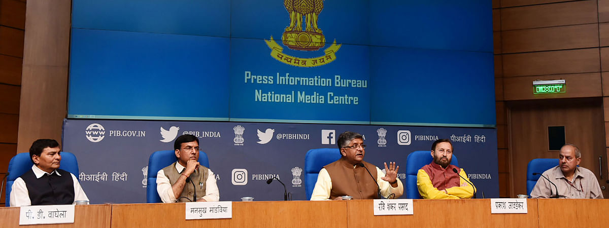 Union Ministers Ravi Shankar Prasad and Prakash Javadekar briefing journalists on Cabinet decisions, in New Delhi on March 21, 2020.