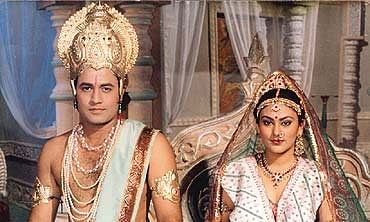 Arun Govil as Lord Ram and Deepika Chikhalia as Sita in a still from television serial 'Ramayana'.