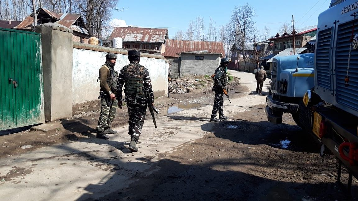 File photo of security personnel during search and cordon operations after four unidentified terrorists were killed in a shootout with security forces in Jammu and Kashmir's Anantnag district on March 15, 2020.