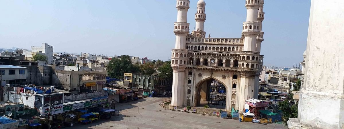 The area around the iconic Charminar in Hyderabad wearing a deserted look during the lockdown to contain the spread of coronavirus.